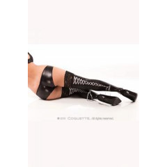 Darque Wet look thigh highs- contrasting ribbon lace ups