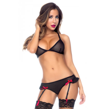 Microdot Bra and Lace Up Panty Set with Detachable Garters