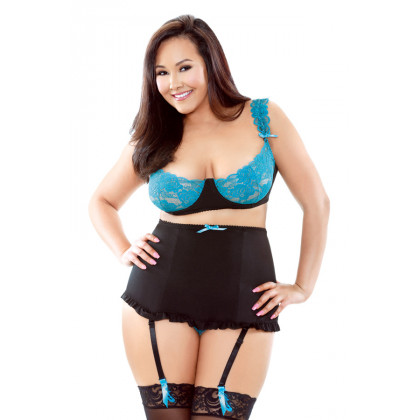 Underwire Bra with Detachable Gartered High Waist Panty