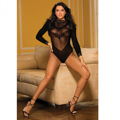 Stretch Long Sleeve Mesh Teddy